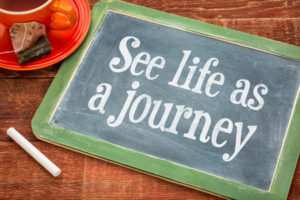 47396749 - see life as journey - inspiration phrase on a slate blackboard with chalk and cup of tea